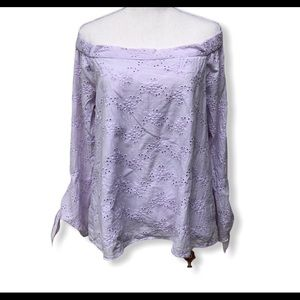 The impeccable Pig Off the Shoulder Eyelet Top